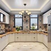 现代复式楼精致大厨房橱柜效果图