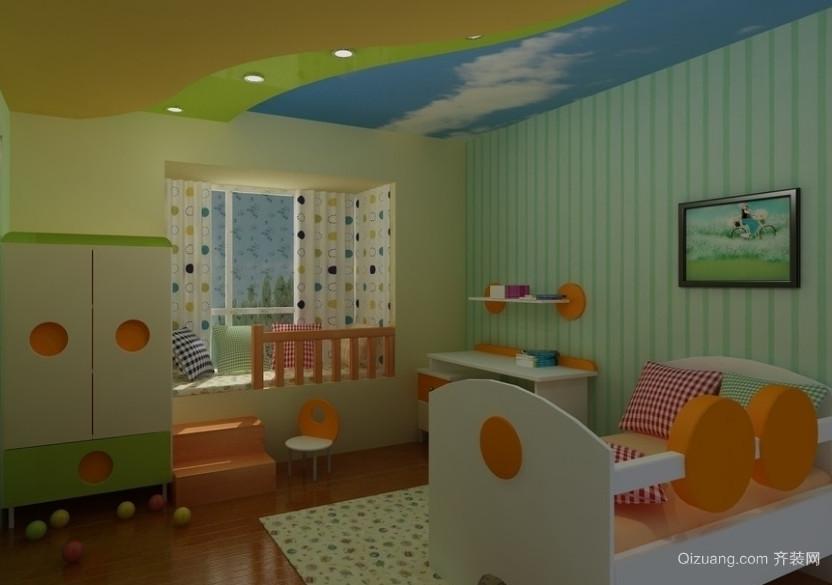 2016气氛欢快的大户型儿童房背景墙装修效果图