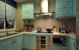 简约地中海6平米厨房实木橱柜效果图