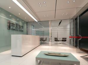 现代简约公司前台玻璃隔断效果图