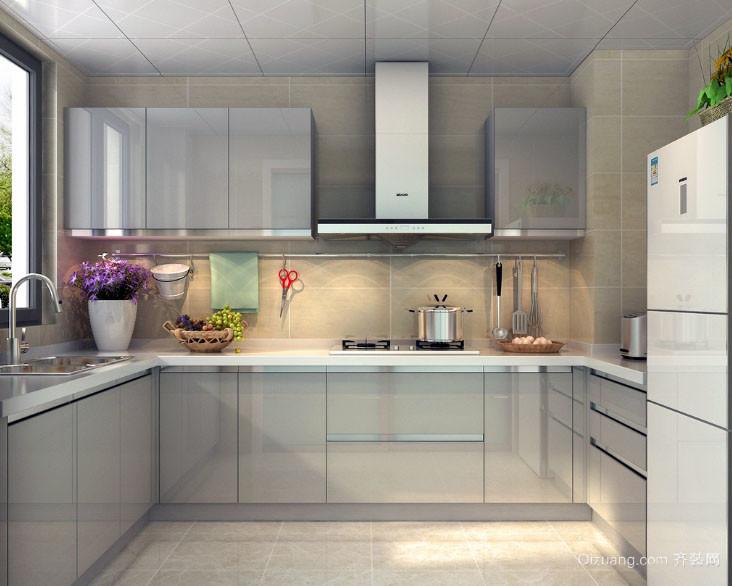 简单之美:现代三室一厅厨房不锈钢橱柜图