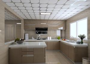 咖啡色系12平米简约大厨房橱柜效果图