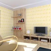 简单黄色客厅壁纸展示