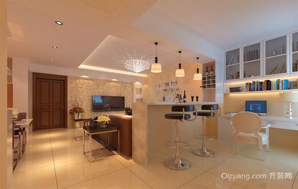 精致自然的单身公寓欧式风格餐厅隔断装修效果图