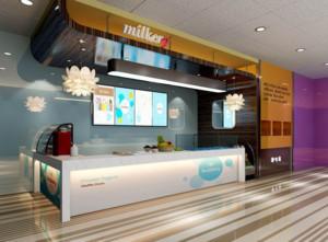 2016都市精美冰淇淋店背景墙装修效果图实例