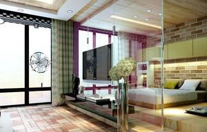56平米现代单身公寓玻璃隔断电视墙效果图