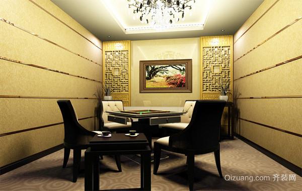 休闲舒适的现代棋牌室室内背景墙装修效果图