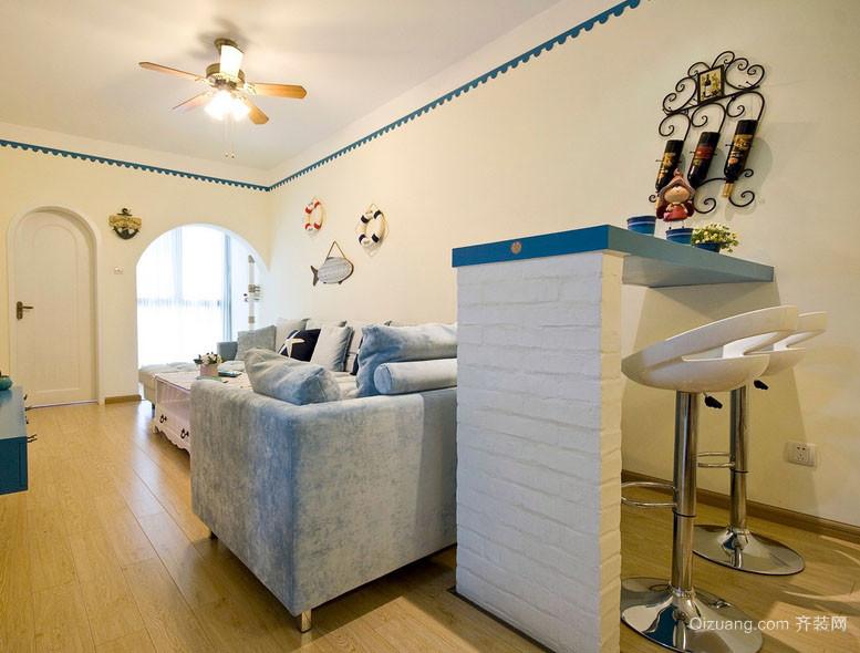 60平米单身公寓房屋地中海客厅吧台装修图