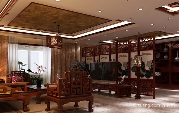古典韵味大户型客厅中式屏风隔断设计图