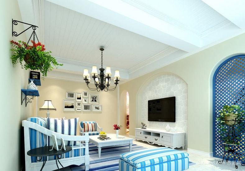 轻快70平米房屋地中海客厅装修设计图