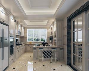 大户型唯美家居现代厨房推拉门装修效果图