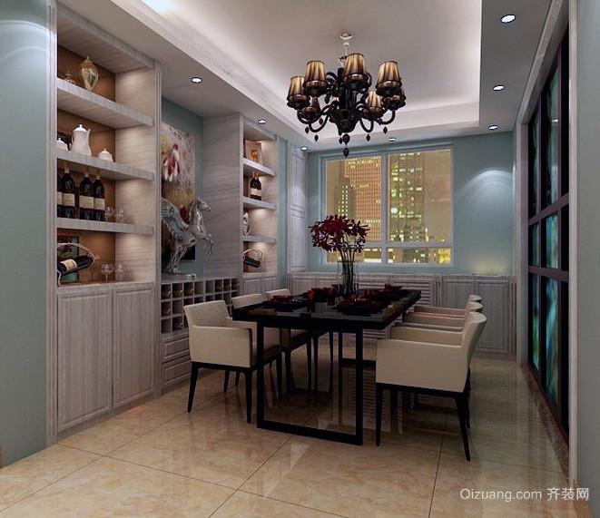 2016现代别墅型欧式特色餐厅酒柜装修效果图