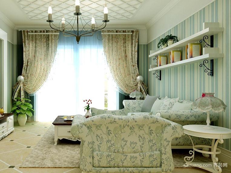 96平米两居室客厅田园风格装修图片