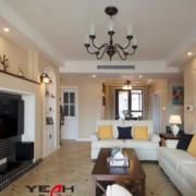 2016美式装修风格样板房客厅装修效果图