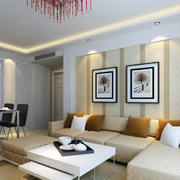 精致爽约的大户型客厅沙发背景墙装修效果图