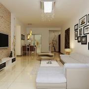 朴素三居室房屋客厅照片墙装修设计图