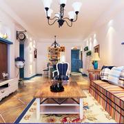 地中海风格两室一厅房屋客厅装修设计图