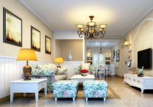 108平米两居室雅致田园风格客厅装修图片
