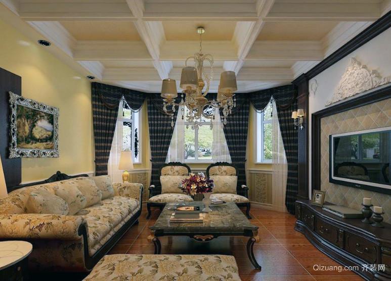 单身公寓美式风格客厅室内装潢设计效果图