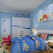 儿童房蓝色壁纸展示