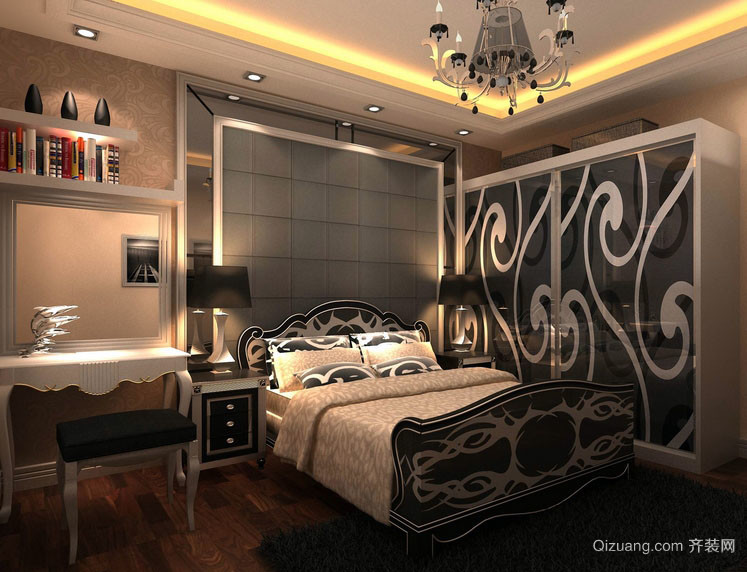 108平米新房后现代风格卧室软包背景墙图片