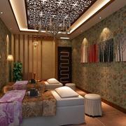 美容院房间碎花壁纸展示