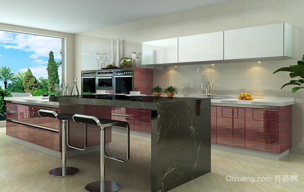 宜家现代家居厨房不锈钢橱柜效果图