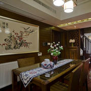 大户型中式餐厅装饰画装修效果图