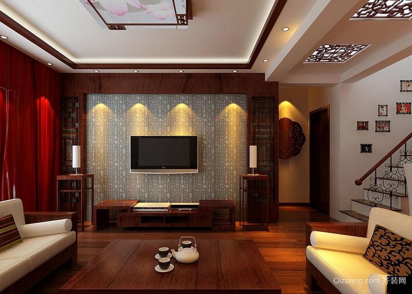 2016简约中式客厅电视背景墙装修效果图