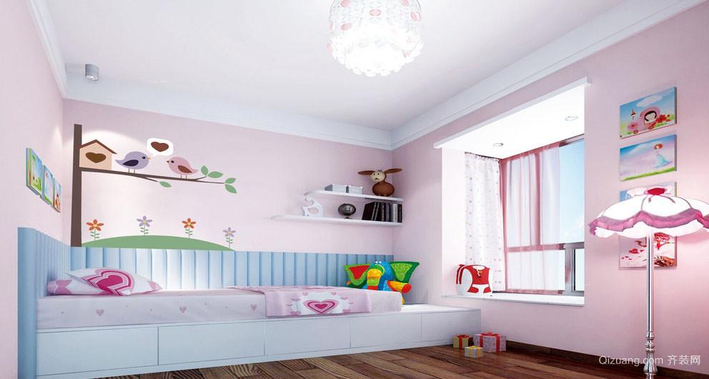 简约粉色14平米儿童房榻榻米效果图