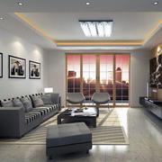 别墅型精美欧式室内客厅落地窗装修效果图