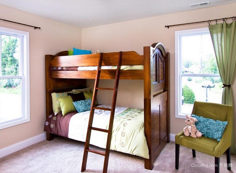 精致大户型儿童房实木双层床效果图