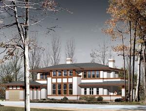 都市唯美的现代欧式一层别墅外观效果图