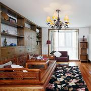 2016大户型精致中式客厅罗汉床装修效果图