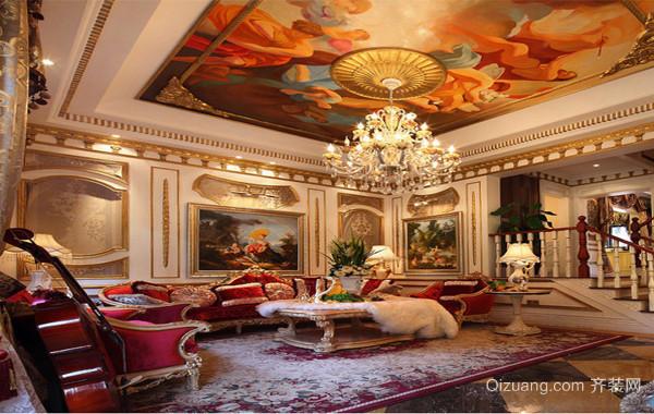 小资家庭二居室巴洛克风格客厅背景墙装修效果图