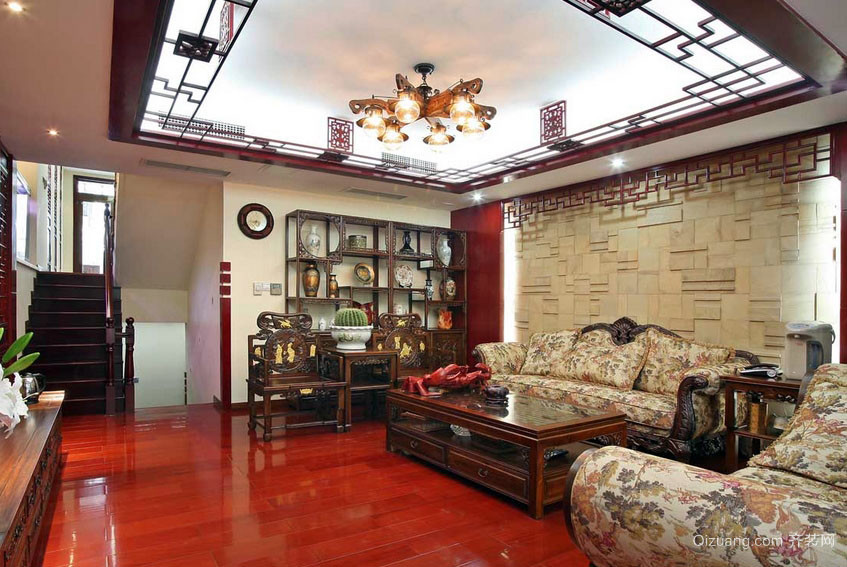 107平米田园中式跃层住宅客厅装修效果图