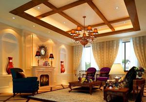 传统美式2016大别墅客厅吊顶装修效果图