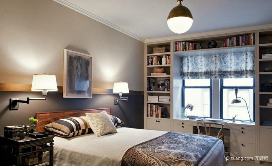宜家现代两居室卧室飘窗书桌设计装修图