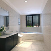 80平米欧式卫生间瓷砖背景墙装修效果图