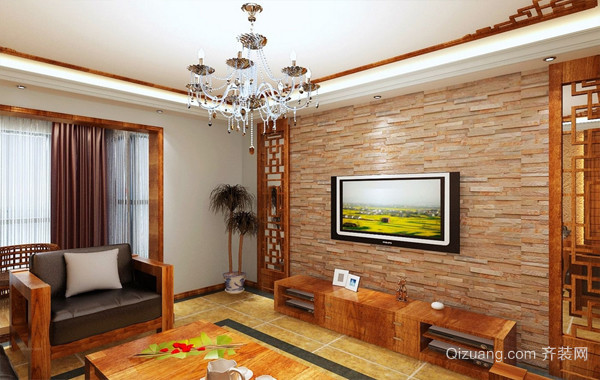 204平米中式客厅电视背景墙装修效果图