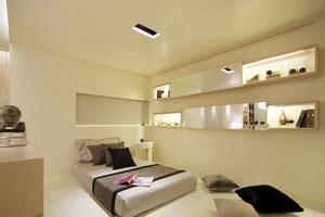 米白色现代单身公寓卧室榻榻米装修图