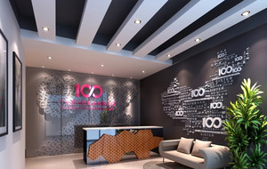 现代化的大型企业办公室文化墙装修效果图