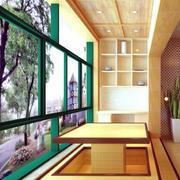 2016舒适的日式风格阳台榻榻米装修效果图