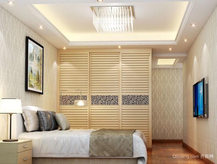 两室一厅卧室现代推拉门衣柜设计效果图