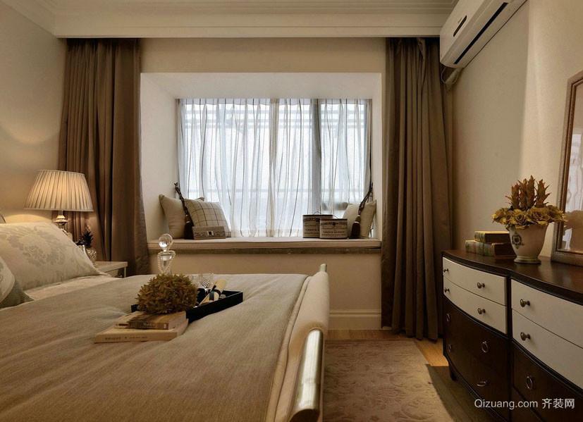 咖啡色朴素大卧室飘窗设计装修效果图