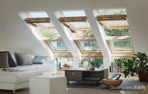 都市现代斜顶阁楼开天窗装修效果图大全