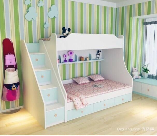 欧式大户型唯美儿童房高低床装修效果图鉴赏