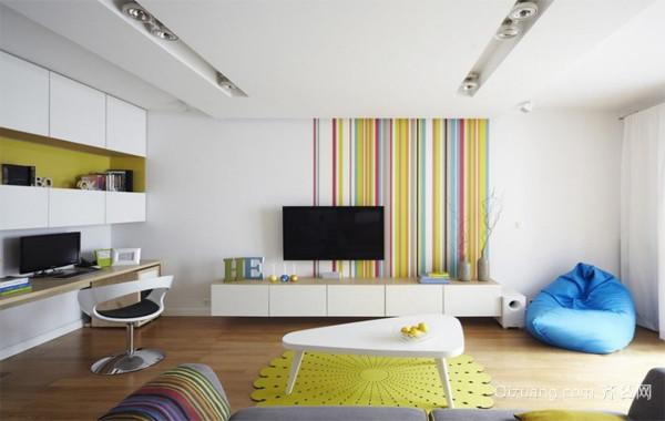 2016欧式大户型客厅室内墙绘背景墙装修效果图
