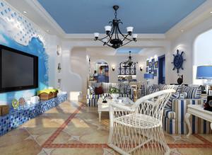 美人鱼之家:142平米客厅地中海风格装修图