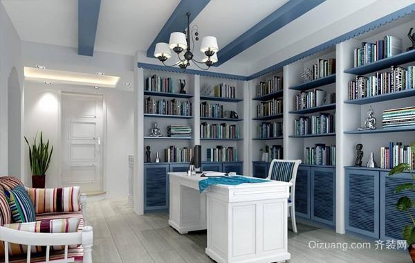 清凉一夏:大户型书房地中海风格效果图